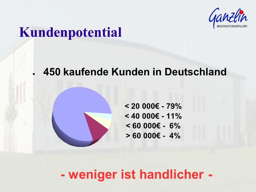 Kundenpotential 450 kaufende Kunden in Deutschland < 20 000 - 79% < 40 000 - 11% < 60 000 - 6% > 60 000 - 4%