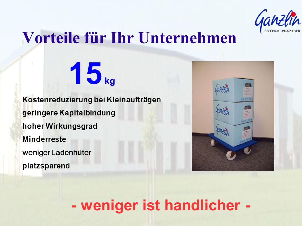 - weniger ist handlicher - Vorteile für Ihr Unternehmen 15 kg Ein sehr angenehmes heben, tragen und nachfüllen aller Beschichtungs- anlagen.