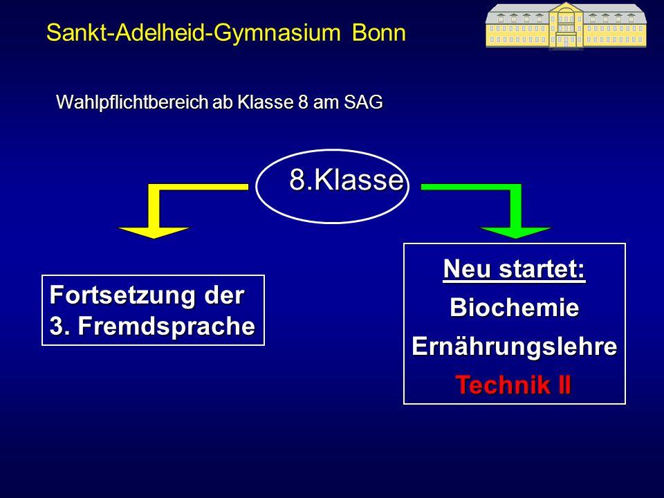 8.Klasse Fortsetzung der 3. Fremdsprache Ernährungslehre Biochemie Technik II Wahlpflichtbereich ab Klasse 8 am SAG Neu startet: