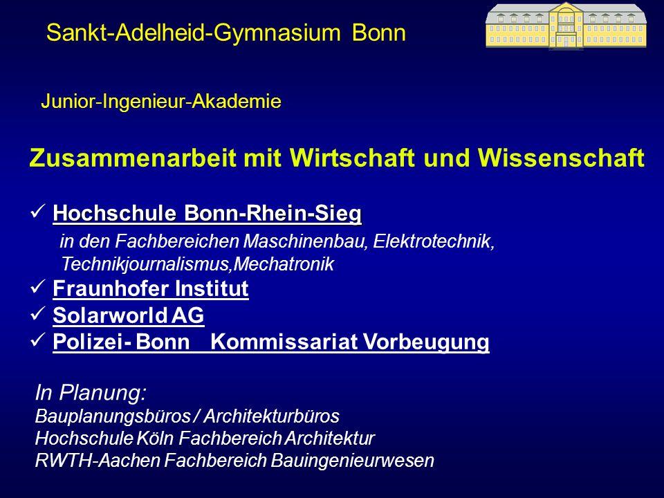 Sankt-Adelheid-Gymnasium Bonn Zusammenarbeit mit Wirtschaft und Wissenschaft Hochschule Bonn-Rhein-Sieg Hochschule Bonn-Rhein-Sieg in den Fachbereiche