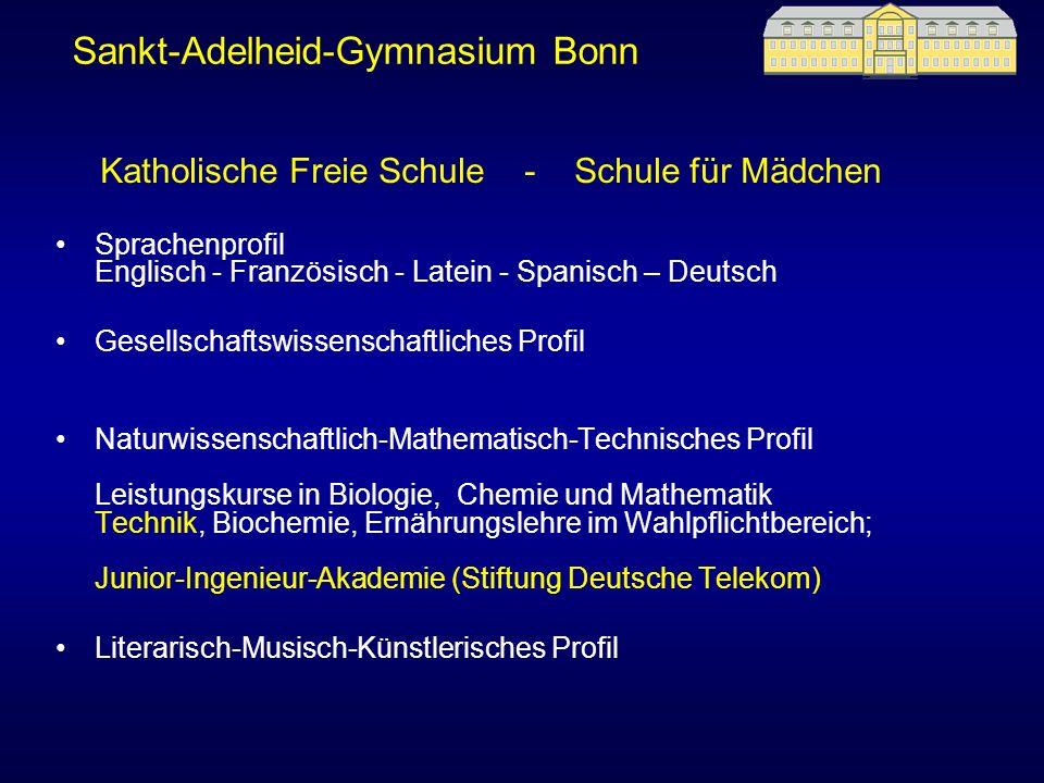 Sprachenprofil Englisch - Französisch - Latein - Spanisch – Deutsch Gesellschaftswissenschaftliches Profil Naturwissenschaftlich-Mathematisch-Technisc