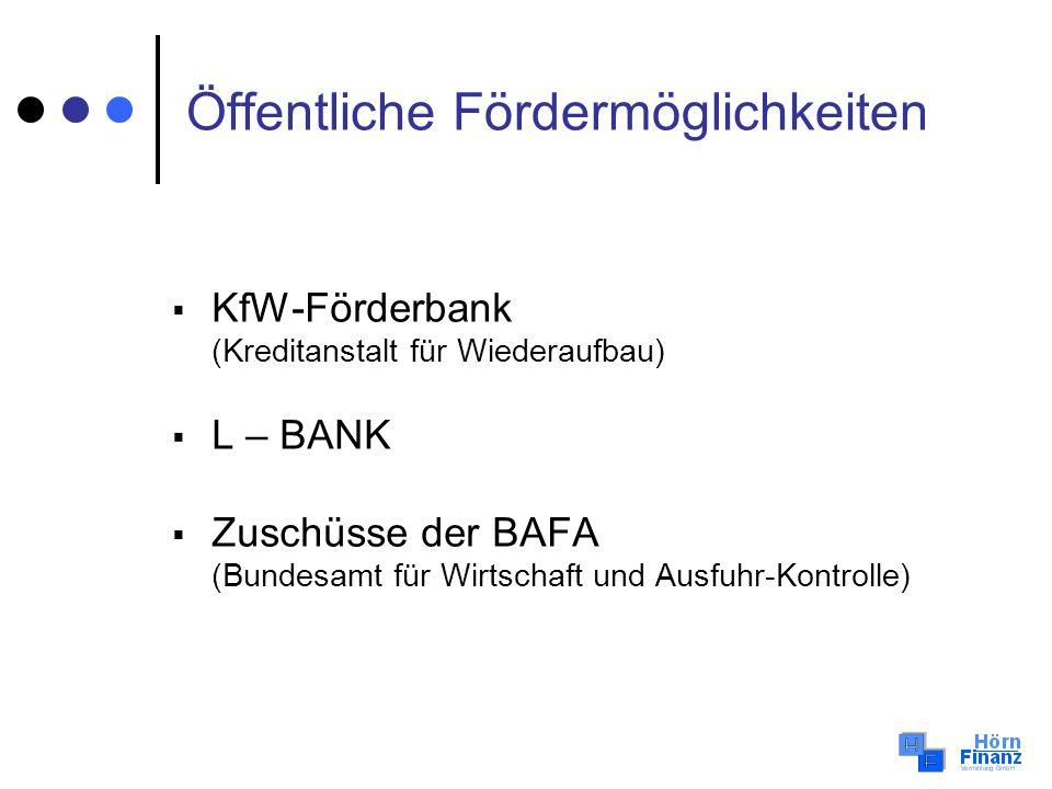 Öffentliche Fördermöglichkeiten KfW-Förderbank (Kreditanstalt für Wiederaufbau) L – BANK Zuschüsse der BAFA (Bundesamt für Wirtschaft und Ausfuhr-Kont