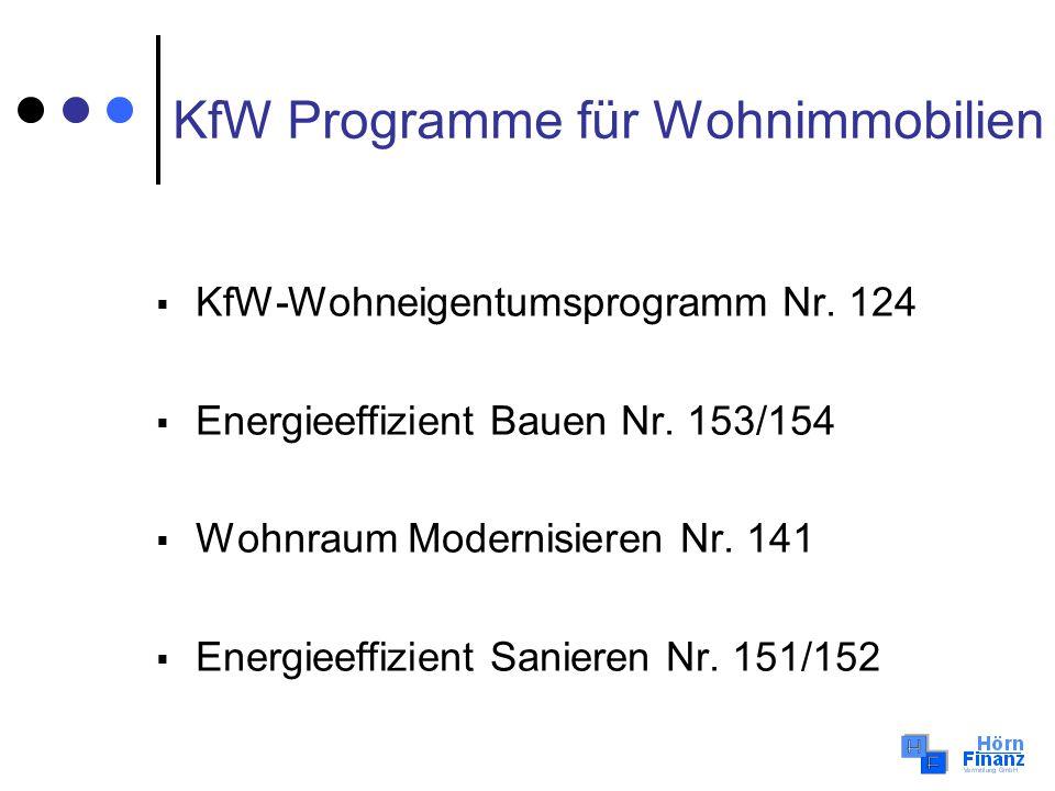 KfW Programme für Wohnimmobilien KfW-Wohneigentumsprogramm Nr. 124 Energieeffizient Bauen Nr. 153/154 Wohnraum Modernisieren Nr. 141 Energieeffizient