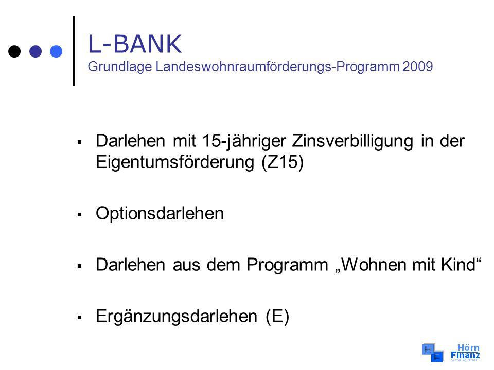 Darlehen mit 15-jähriger Zinsverbilligung in der Eigentumsförderung (Z15) Optionsdarlehen Darlehen aus dem Programm Wohnen mit Kind Ergänzungsdarlehen