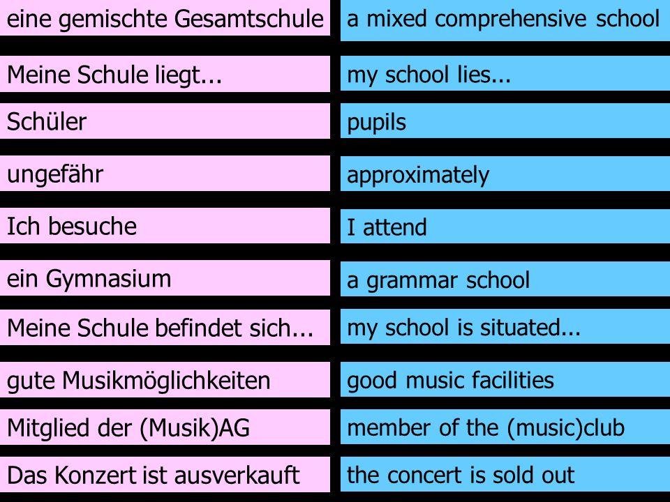 eine gemischte Gesamtschule Meine Schule liegt... Schüler ungefähr Ich besuche ein Gymnasium Meine Schule befindet sich... gute Musikmöglichkeiten a m