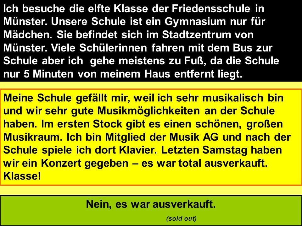 Ich besuche die elfte Klasse der Friedensschule in Münster. Unsere Schule ist ein Gymnasium nur für Mädchen. Sie befindet sich im Stadtzentrum von Mün