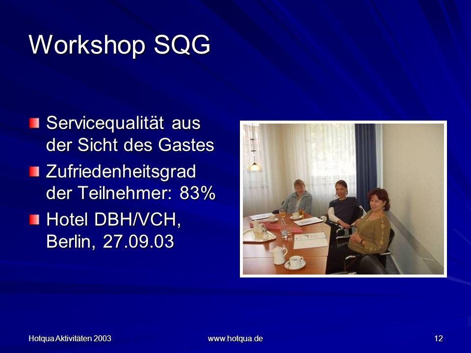 Hotqua Aktivitäten 2003 www.hotqua.de 12 Workshop SQG Servicequalität aus der Sicht des Gastes Zufriedenheitsgrad der Teilnehmer: 83% Hotel DBH/VCH, Berlin, 27.09.03