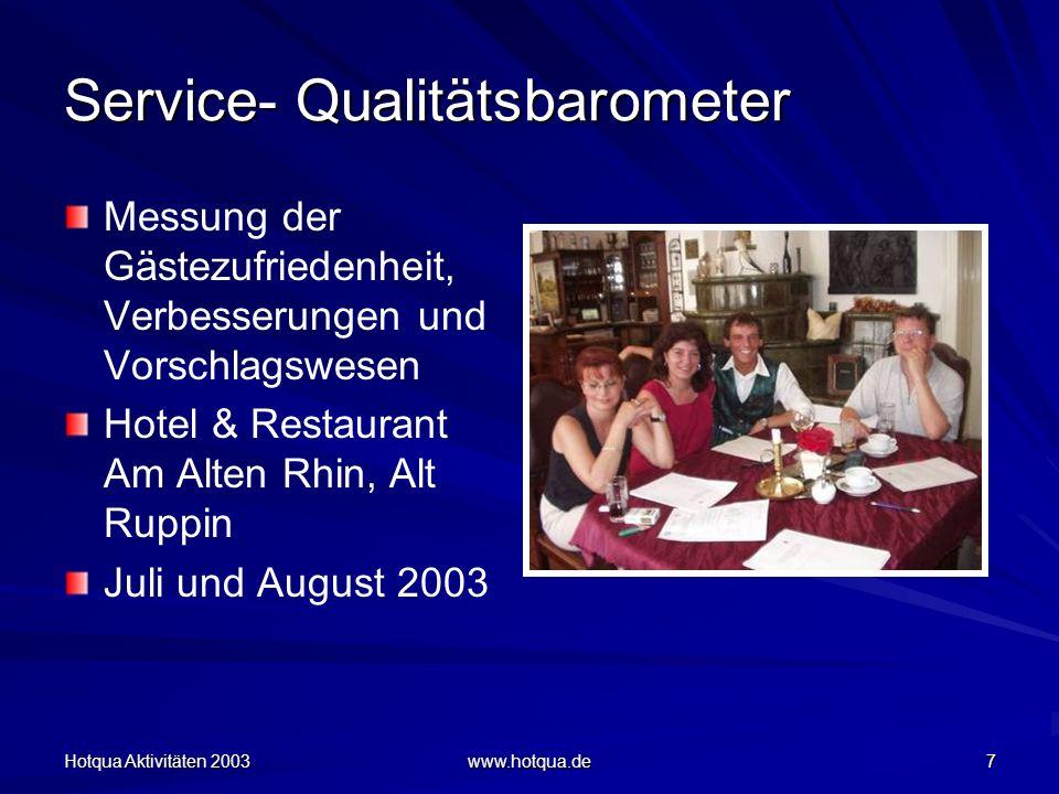 Hotqua Aktivitäten 2003 www.hotqua.de 7 Service- Qualitätsbarometer Messung der Gästezufriedenheit, Verbesserungen und Vorschlagswesen Hotel & Restaurant Am Alten Rhin, Alt Ruppin Juli und August 2003