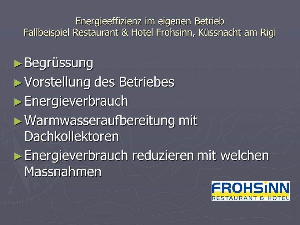 Energieeffizienz im eigenen Betrieb Fallbeispiel Restaurant & Hotel Frohsinn, Küssnacht am Rigi Begrüssung Begrüssung Vorstellung des Betriebes Vorste