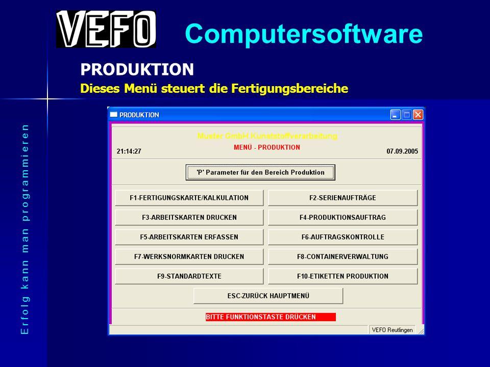Computersoftware VERTRIEB – Rechnung drucken E r f o l g k a n n m a n p r o g r a m m i e r e n Lager- und Fertigungsbereich sind automatisch gebucht