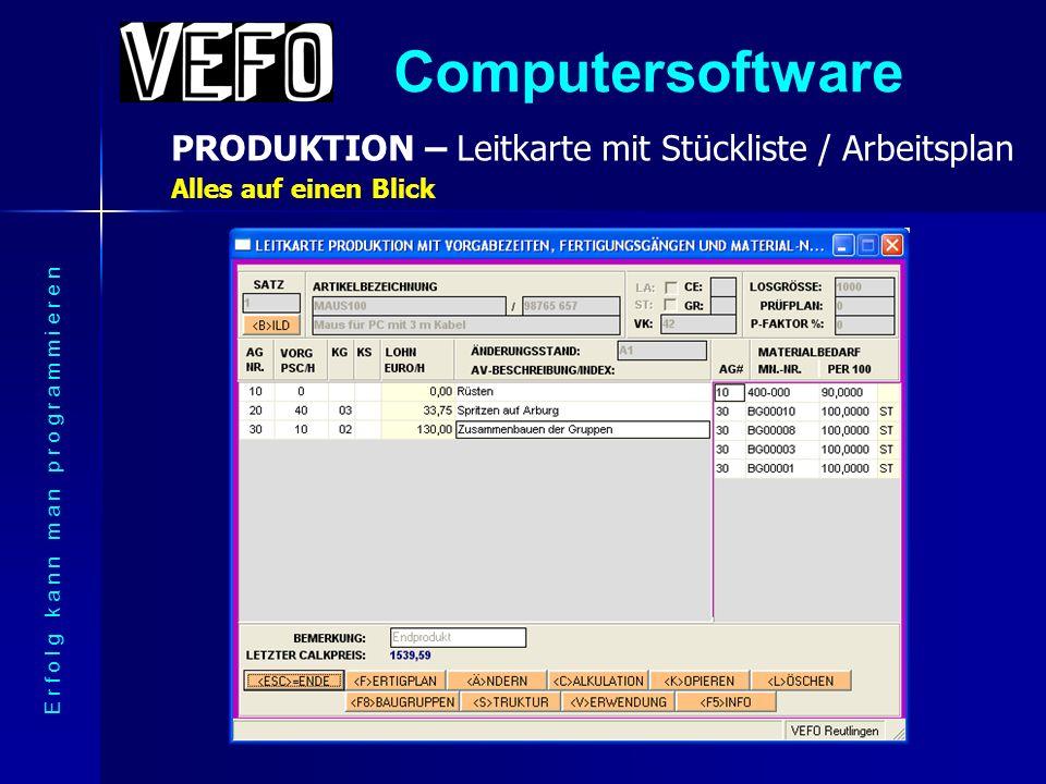 Computersoftware PRODUKTION E r f o l g k a n n m a n p r o g r a m m i e r e n Dieses Menü steuert die Fertigungsbereiche