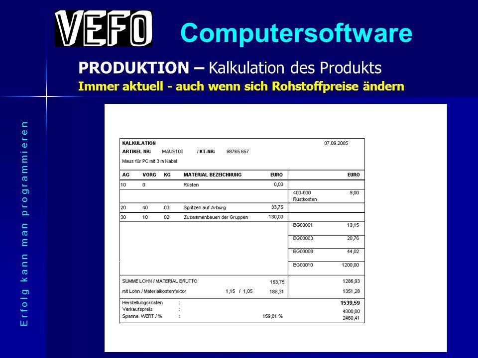 Computersoftware PRODUKTION – Struktur des Produkts E r f o l g k a n n m a n p r o g r a m m i e r e n Aufgegliedert in Baugruppen und Rohstoffe - mehrstufig -