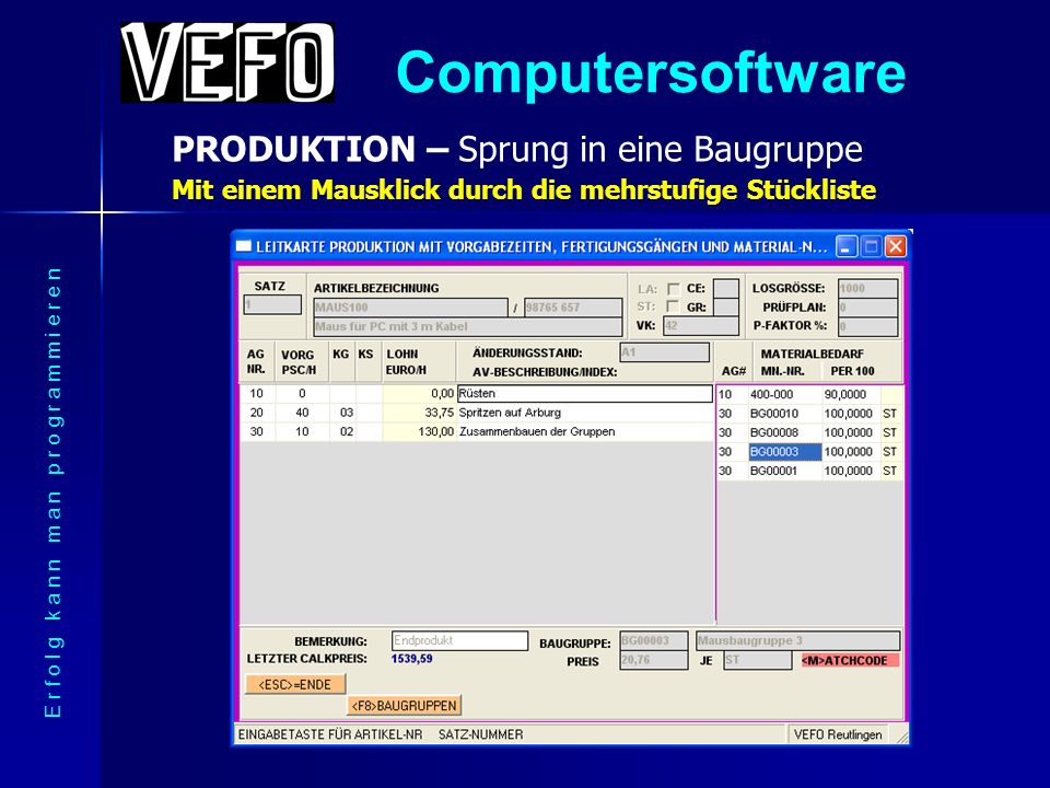 Computersoftware PRODUKTION – Kalkulation des Produkts E r f o l g k a n n m a n p r o g r a m m i e r e n Immer aktuell - auch wenn sich Rohstoffpreise ändern