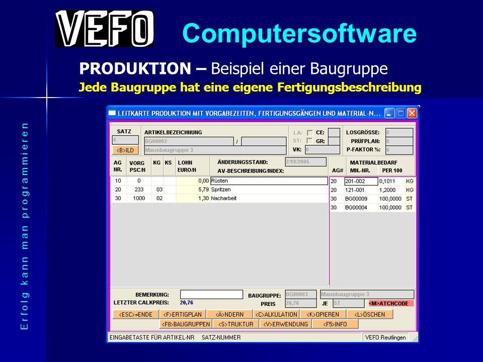 Computersoftware PRODUKTION – Sprung in eine Baugruppe E r f o l g k a n n m a n p r o g r a m m i e r e n Mit einem Mausklick durch die mehrstufige Stückliste