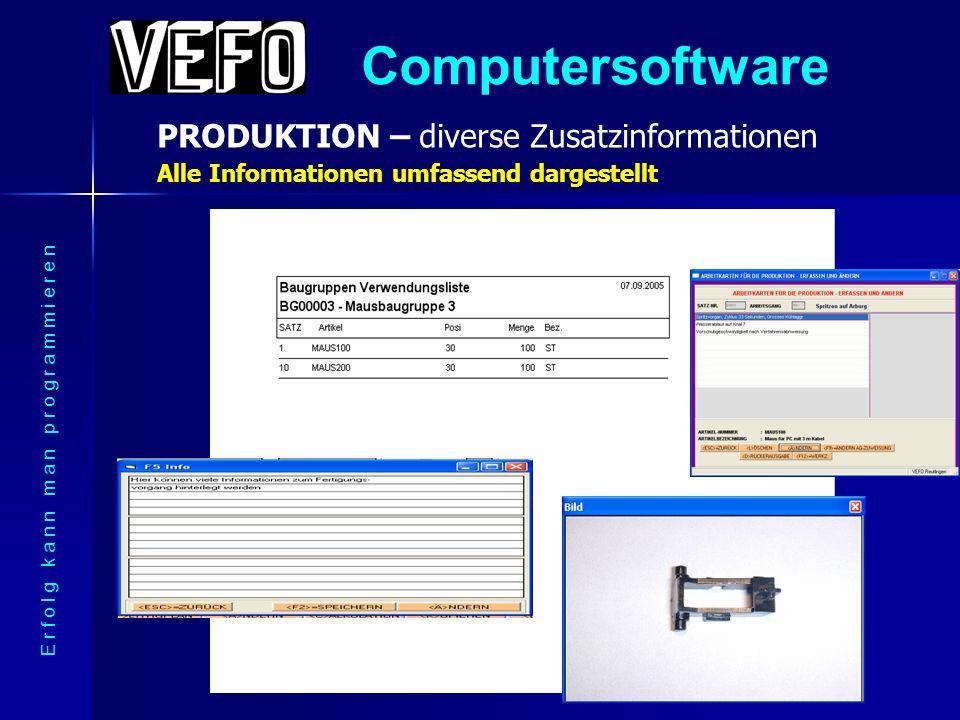 Computersoftware PRODUKTION – Beispiel einer Baugruppe E r f o l g k a n n m a n p r o g r a m m i e r e n Jede Baugruppe hat eine eigene Fertigungsbeschreibung