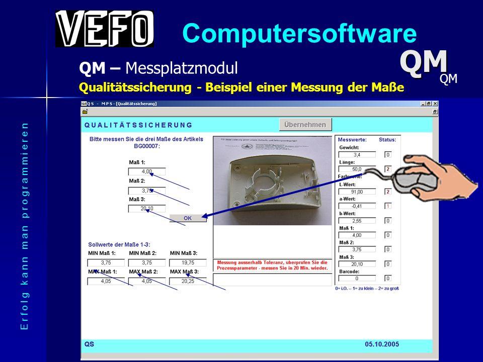 Computersoftware QM – Messplatzmodul E r f o l g k a n n m a n p r o g r a m m i e r e n Qualitätssicherung - Kopfdaten der Messung QM QM