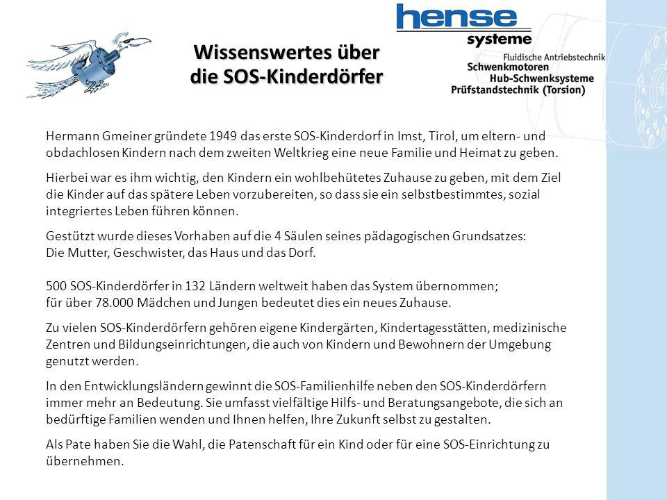 Wissenswertes über die SOS-Kinderdörfer Hermann Gmeiner gründete 1949 das erste SOS-Kinderdorf in Imst, Tirol, um eltern- und obdachlosen Kindern nach dem zweiten Weltkrieg eine neue Familie und Heimat zu geben.