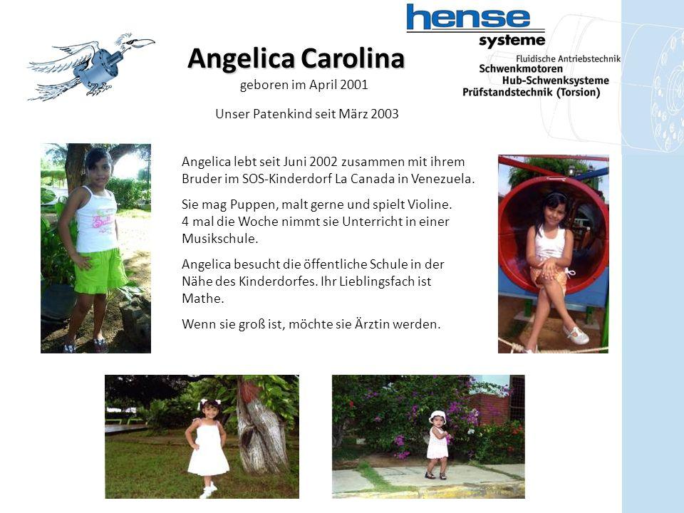 Angelica Carolina geboren im April 2001 Angelica lebt seit Juni 2002 zusammen mit ihrem Bruder im SOS-Kinderdorf La Canada in Venezuela.