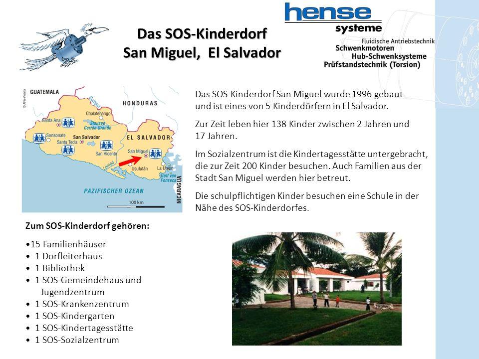 Zum SOS-Kinderdorf gehören: 15 Familienhäuser 1 Dorfleiterhaus 1 Bibliothek 1 SOS-Gemeindehaus und Jugendzentrum 1 SOS-Krankenzentrum 1 SOS-Kindergarten 1 SOS-Kindertagesstätte 1 SOS-Sozialzentrum Das SOS-Kinderdorf San Miguel, El Salvador Das SOS-Kinderdorf San Miguel wurde 1996 gebaut und ist eines von 5 Kinderdörfern in El Salvador.