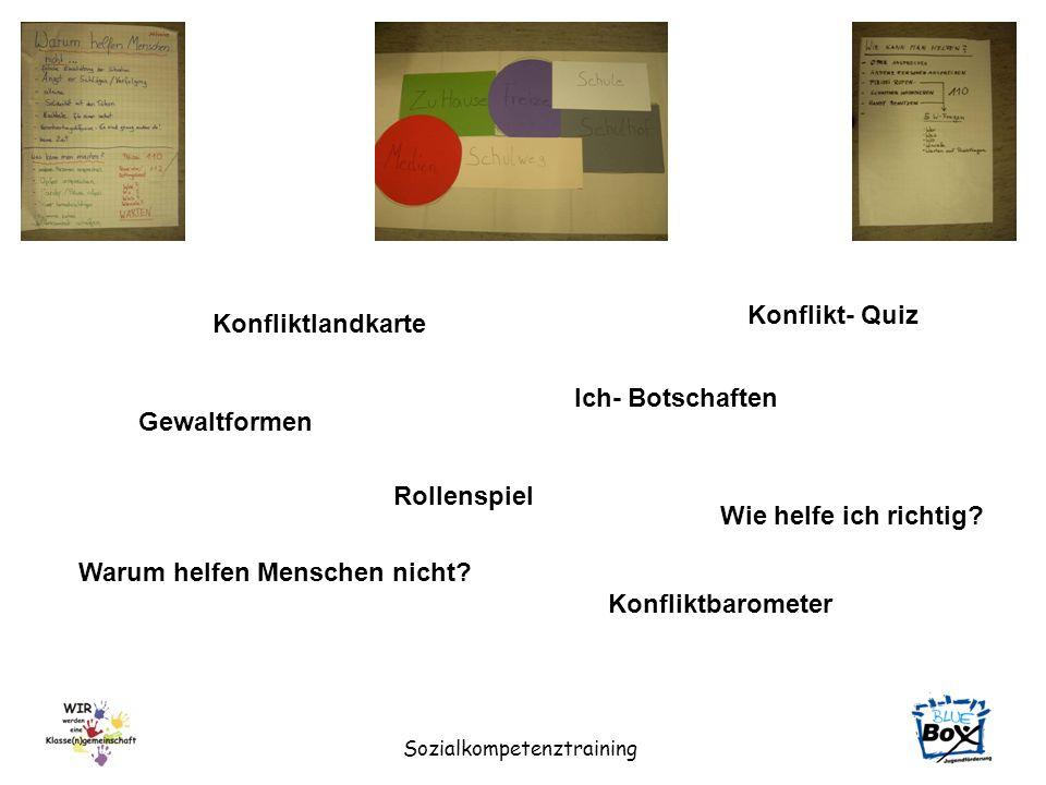 Sozialkompetenztraining Konfliktlandkarte Ich- Botschaften Gewaltformen Rollenspiel Wie helfe ich richtig? Warum helfen Menschen nicht? Konfliktbarome