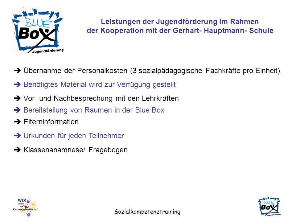 Sozialkompetenztraining Leistungen der Jugendförderung im Rahmen der Kooperation mit der Gerhart- Hauptmann- Schule Übernahme der Personalkosten (3 so