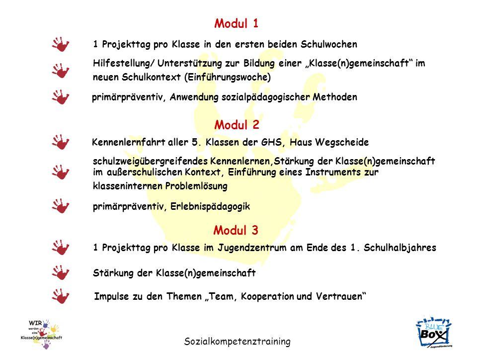 Sozialkompetenztraining Modul 1 Hilfestellung/ Unterstützung zur Bildung einer Klasse(n)gemeinschaft im neuen Schulkontext (Einführungswoche) 1 Projek