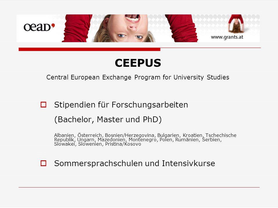 Stipendien für Forschungsarbeiten (Bachelor, Master und PhD) Albanien, Österreich, Bosnien/Herzegovina, Bulgarien, Kroatien, Tschechische Republik, Un