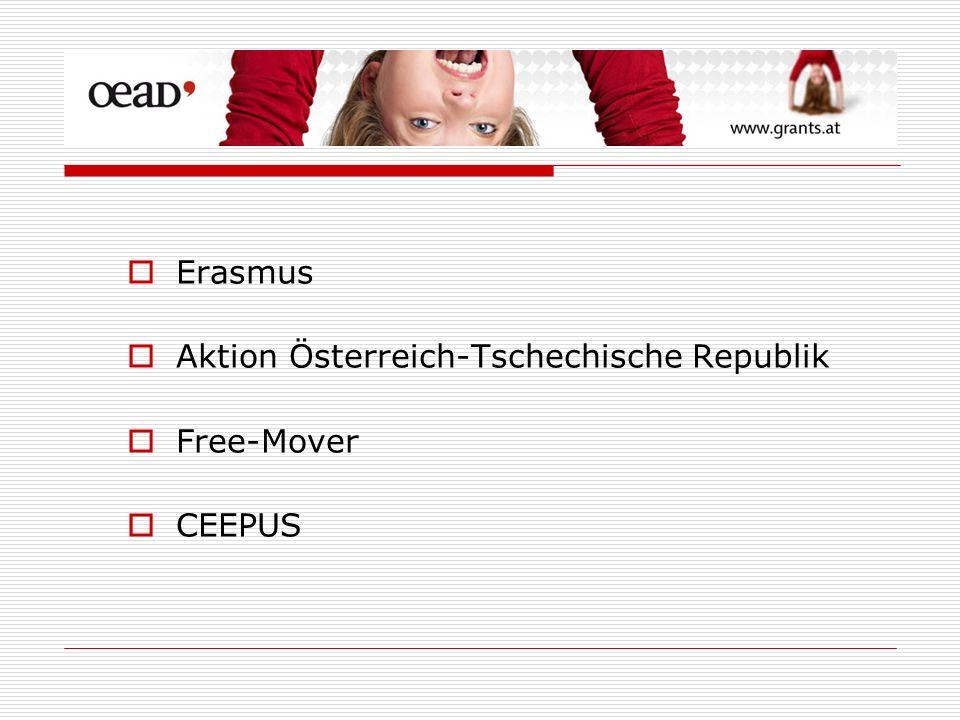 Erasmus Aktion Österreich-Tschechische Republik Free-Mover CEEPUS