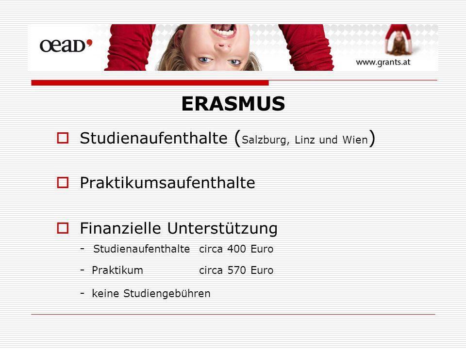 Studienaufenthalte ( Salzburg, Linz und Wien ) Praktikumsaufenthalte Finanzielle Unterstützung - Studienaufenthalte circa 400 Euro - Praktikum circa 570 Euro - keine Studiengebühren ERASMUS