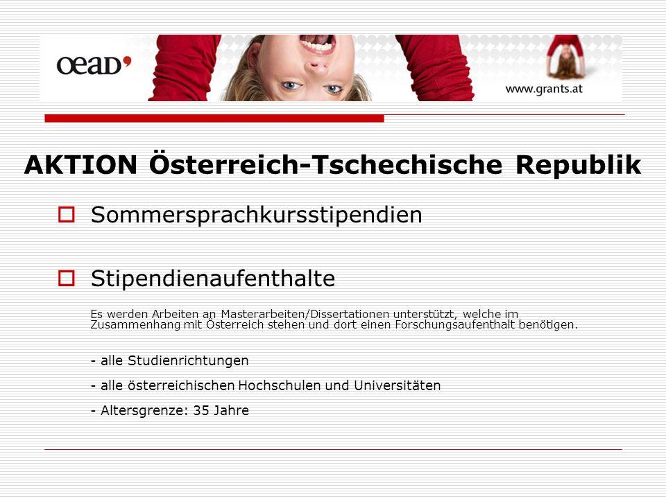Sommersprachkursstipendien Stipendienaufenthalte Es werden Arbeiten an Masterarbeiten/Dissertationen unterstützt, welche im Zusammenhang mit Österreich stehen und dort einen Forschungsaufenthalt benötigen.