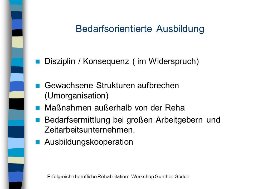 Erfolgreiche berufliche Rehabilitation: Workshop Günther-Gödde Bedarfsorientierte Ausbildung Disziplin / Konsequenz ( im Widerspruch) Gewachsene Struk