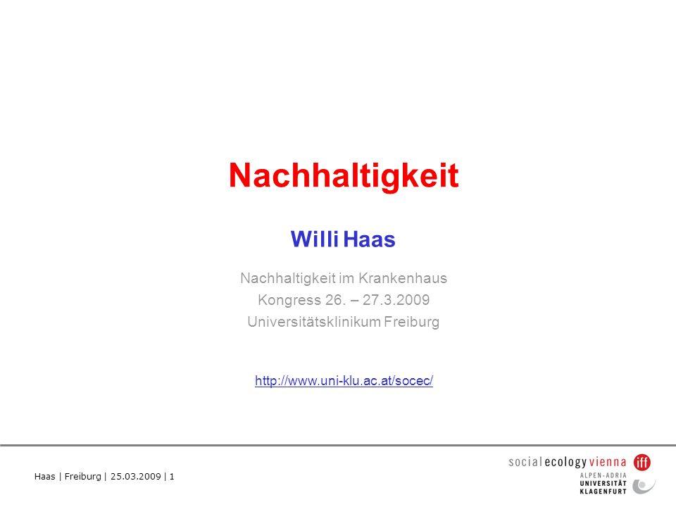 Haas | Freiburg | 25.03.2009 | 1 Nachhaltigkeit Willi Haas Nachhaltigkeit im Krankenhaus Kongress 26.