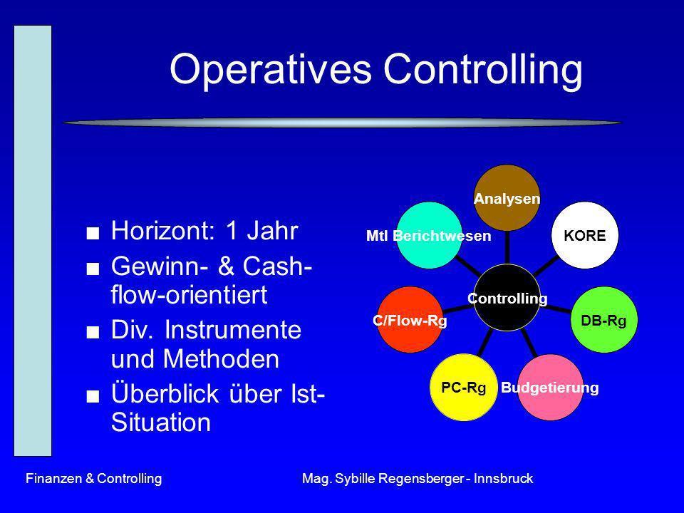 Finanzen & ControllingMag. Sybille Regensberger - Innsbruck Operatives Controlling Horizont: 1 Jahr Gewinn- & Cash- flow-orientiert Div. Instrumente u