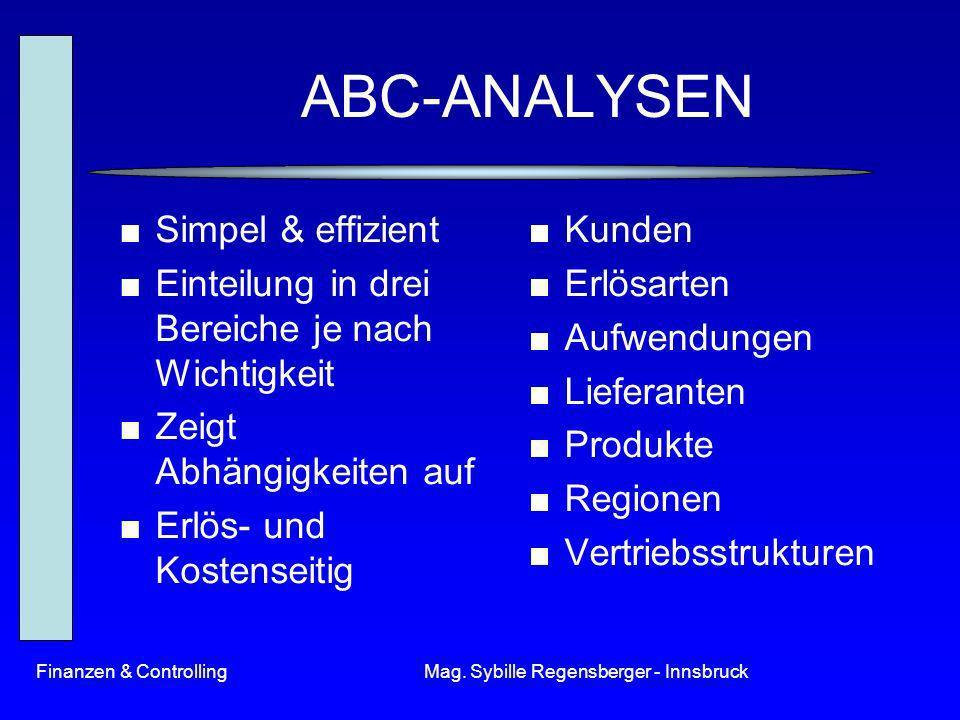 Finanzen & ControllingMag. Sybille Regensberger - Innsbruck ABC-ANALYSEN Simpel & effizient Einteilung in drei Bereiche je nach Wichtigkeit Zeigt Abhä
