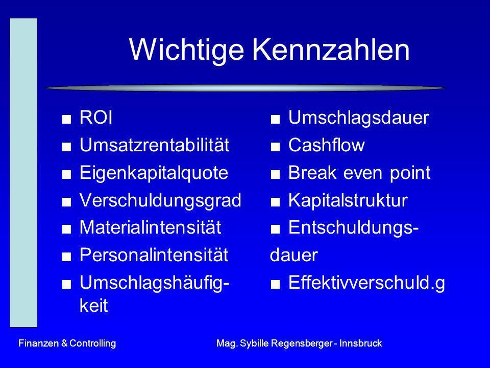 Finanzen & ControllingMag. Sybille Regensberger - Innsbruck Wichtige Kennzahlen ROI Umsatzrentabilität Eigenkapitalquote Verschuldungsgrad Materialint