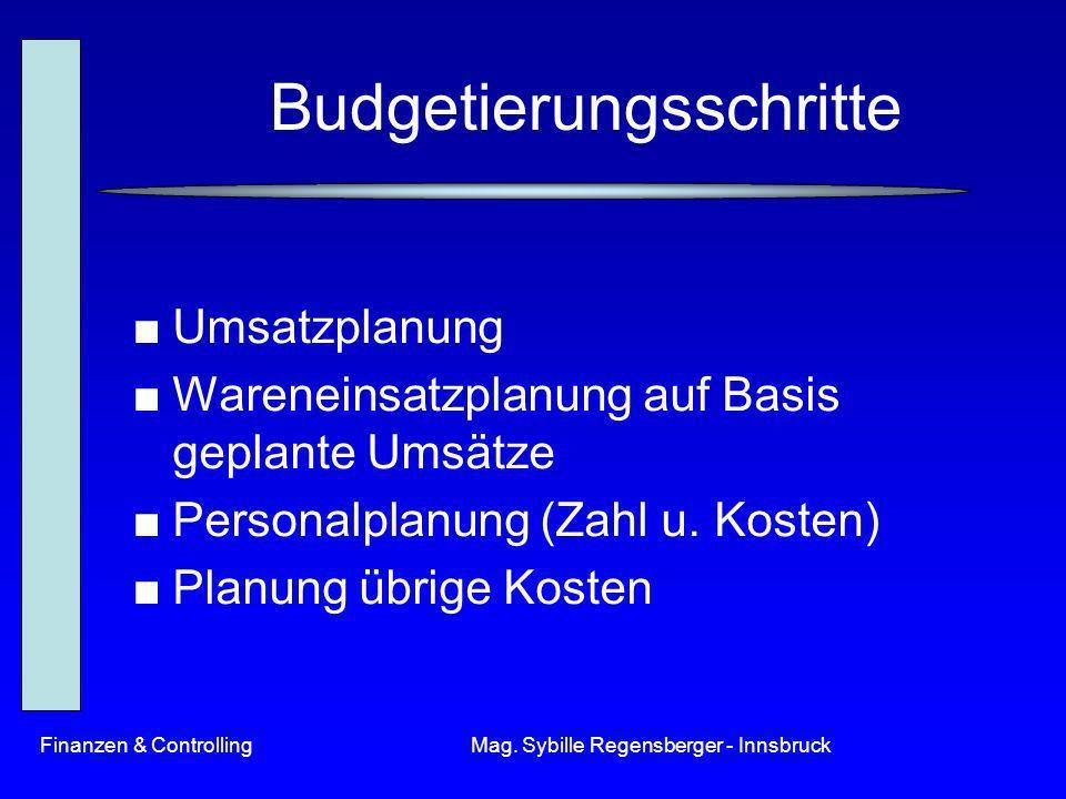 Finanzen & ControllingMag. Sybille Regensberger - Innsbruck Budgetierungsschritte Umsatzplanung Wareneinsatzplanung auf Basis geplante Umsätze Persona