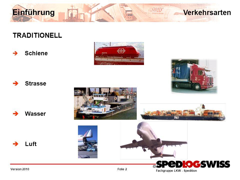 Fachgruppe LKW - Spedition Folie 3 Version 2010 KOMBINIERT Strasse / Schiene Strasse / Wasser Schiene / Wasser Luft / Strasse (LEV) Sea / Air Kurierdienste Einführung Verkehrsarten