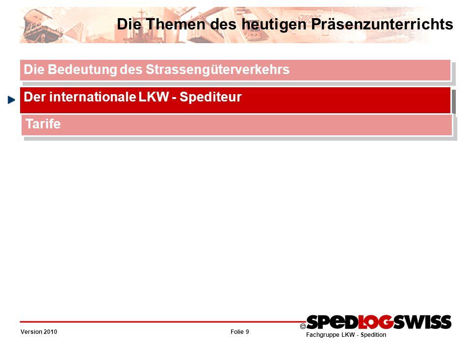 Fachgruppe LKW - Spedition Folie 10 Version 2010 Der internationale LKW - Spediteur Funktion Vermittler (OR 439) für Leistungen, welche er nur vermittelt (z.B.