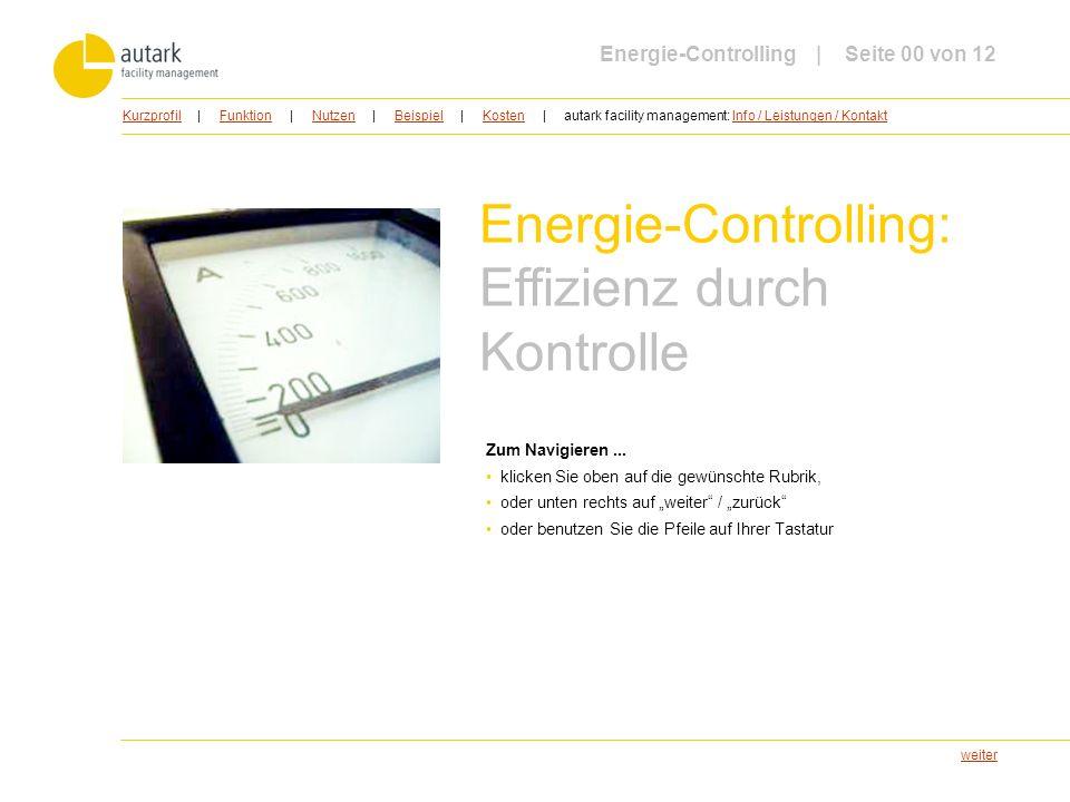 weiter Energie-Controlling: Effizienz durch Kontrolle Zum Navigieren... klicken Sie oben auf die gewünschte Rubrik, oder unten rechts auf weiter / zur