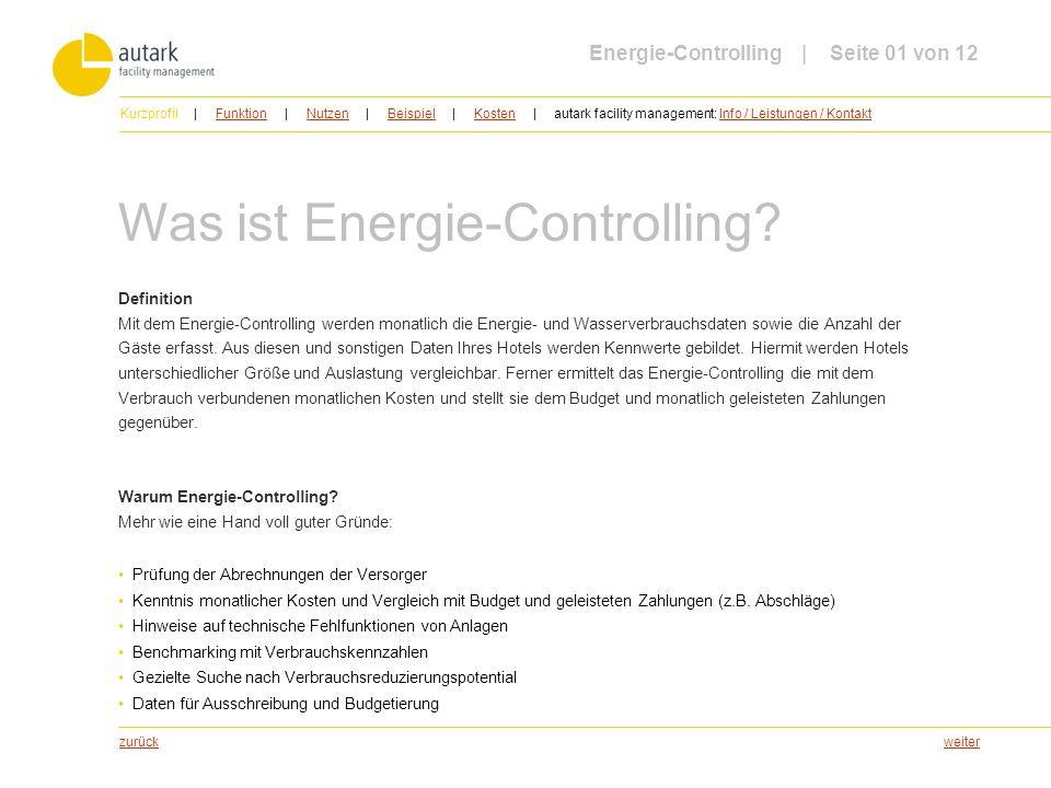 weiter Was ist Energie-Controlling? Definition Mit dem Energie-Controlling werden monatlich die Energie- und Wasserverbrauchsdaten sowie die Anzahl de