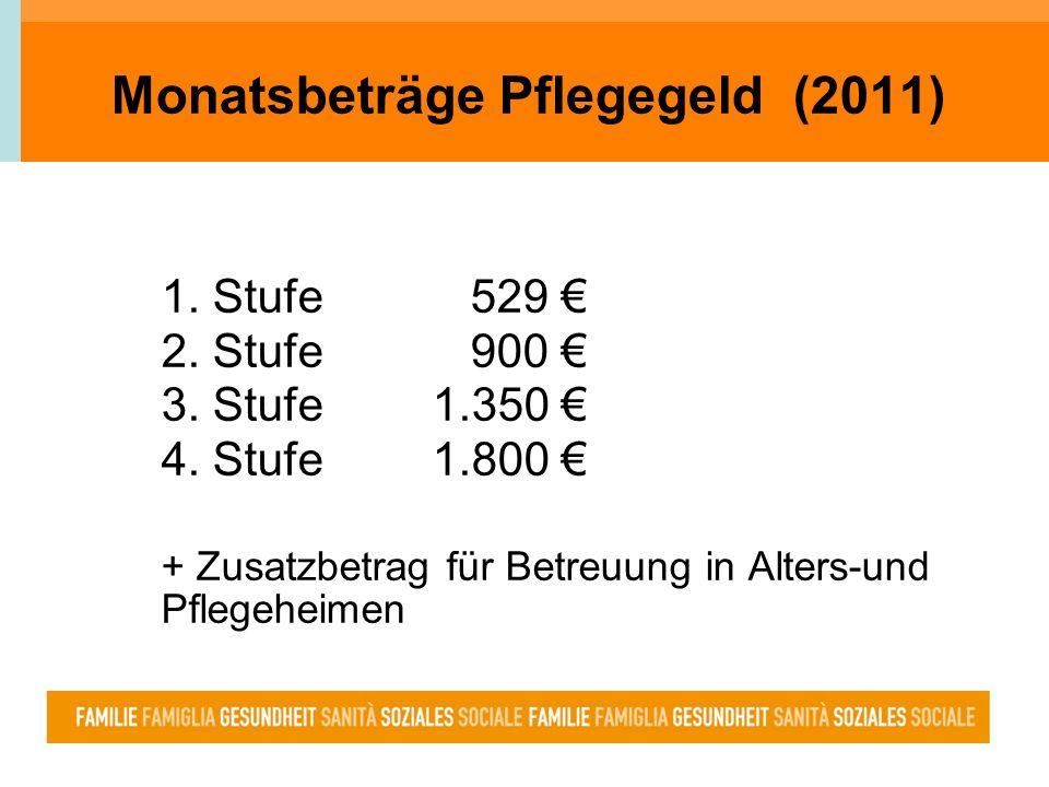 Monatsbeträge Pflegegeld (2011) 1. Stufe529 2. Stufe900 3. Stufe 1.350 4. Stufe 1.800 + Zusatzbetrag für Betreuung in Alters-und Pflegeheimen