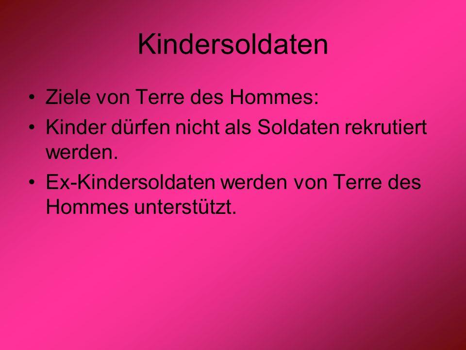 Kindersoldaten Ziele von Terre des Hommes: Kinder dürfen nicht als Soldaten rekrutiert werden. Ex-Kindersoldaten werden von Terre des Hommes unterstüt