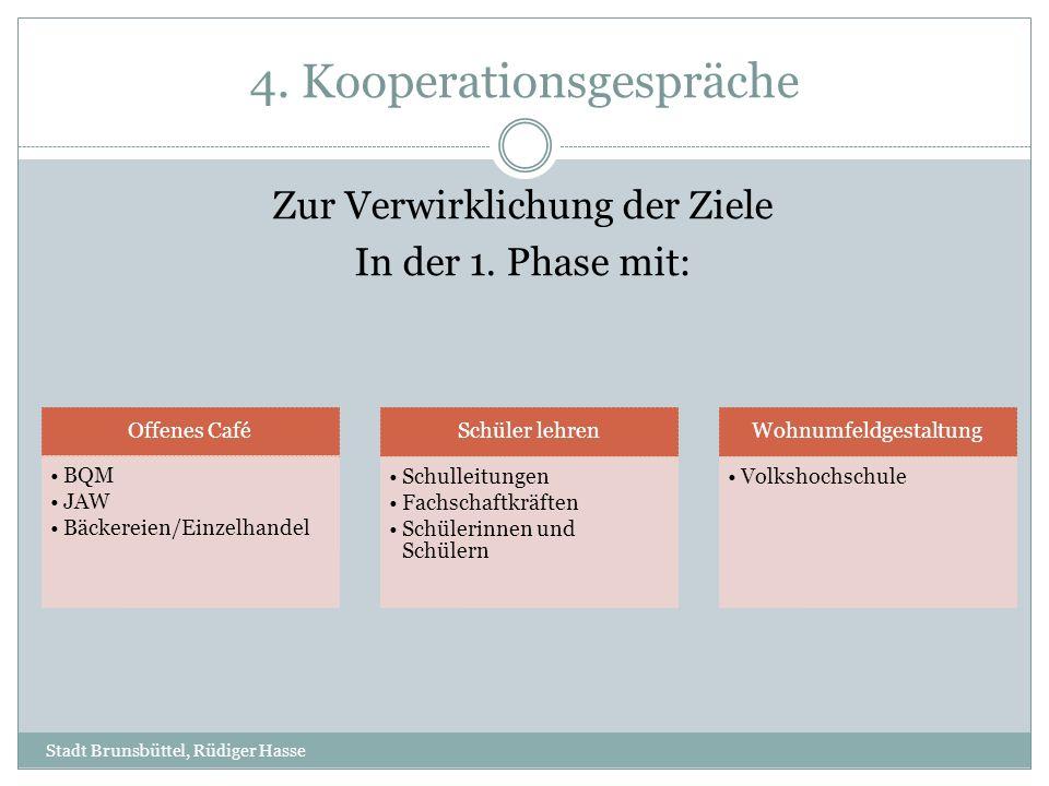 4. Kooperationsgespräche Stadt Brunsbüttel, Rüdiger Hasse Zur Verwirklichung der Ziele In der 1. Phase mit: Offenes Café BQM JAW Bäckereien/Einzelhand