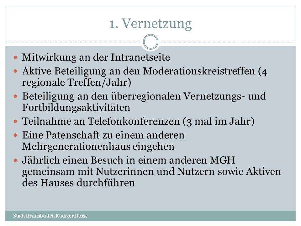 1. Vernetzung Mitwirkung an der Intranetseite Aktive Beteiligung an den Moderationskreistreffen (4 regionale Treffen/Jahr) Beteiligung an den überregi