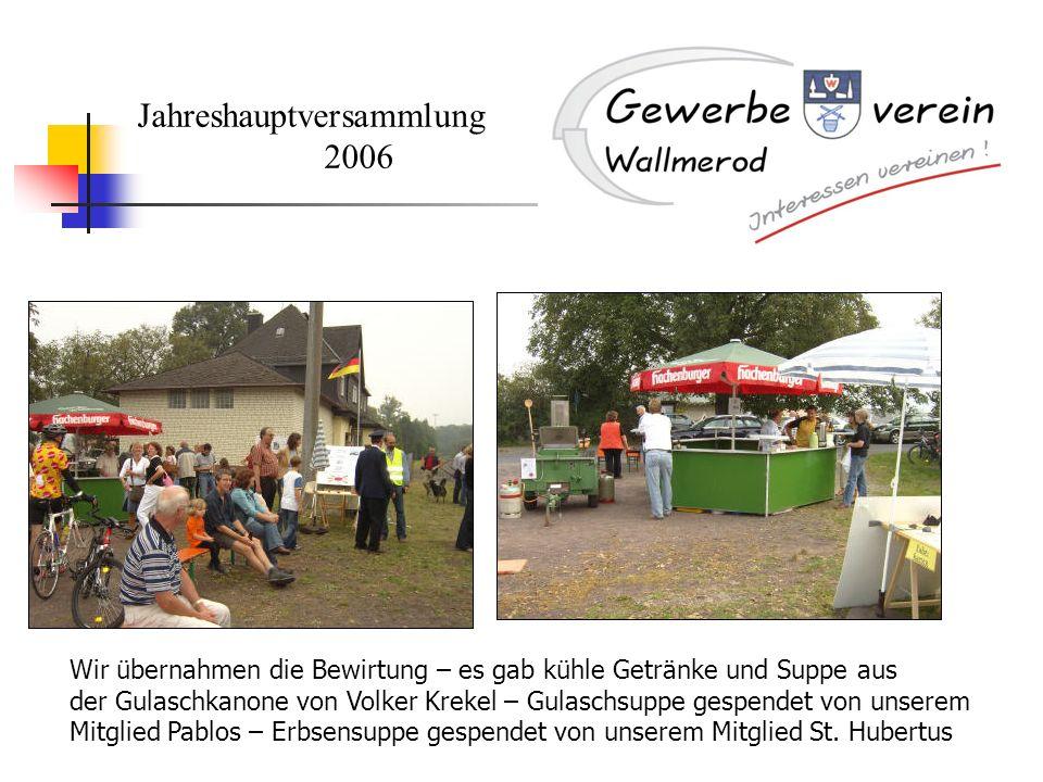 Jahreshauptversammlung 2006 Wir übernahmen die Bewirtung – es gab kühle Getränke und Suppe aus der Gulaschkanone von Volker Krekel – Gulaschsuppe gesp