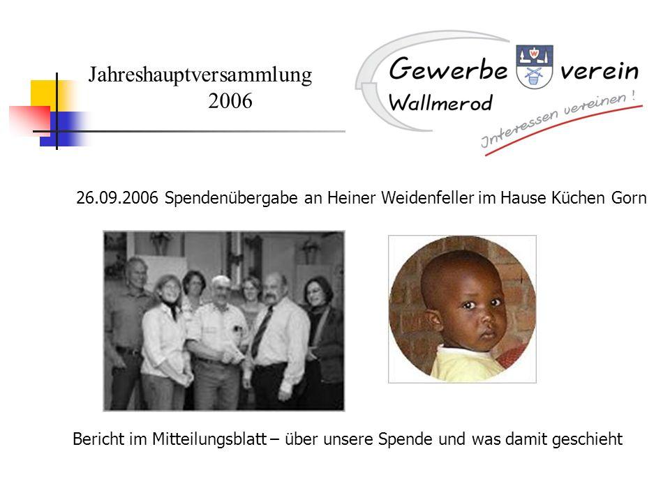 Jahreshauptversammlung 2006 26.09.2006 Spendenübergabe an Heiner Weidenfeller im Hause Küchen Gorn Bericht im Mitteilungsblatt – über unsere Spende un