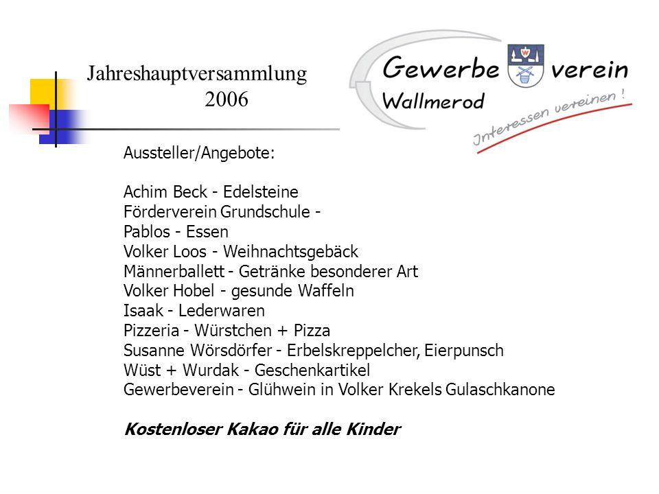 Jahreshauptversammlung 2006 Aussteller/Angebote: Achim Beck - Edelsteine Förderverein Grundschule - Pablos - Essen Volker Loos - Weihnachtsgebäck Männ