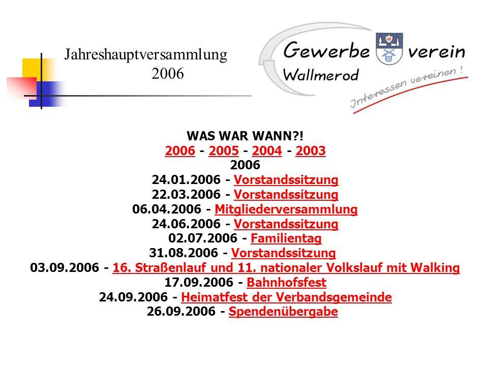 Jahreshauptversammlung 2006 WAS WAR WANN?! 20062006 - 2005 - 2004 - 2003200520042003 2006 24.01.2006 - Vorstandssitzung 22.03.2006 - Vorstandssitzung