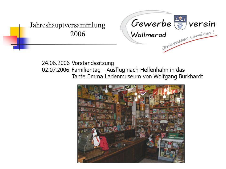 Jahreshauptversammlung 2006 24.06.2006 Vorstandssitzung 02.07.2006 Familientag – Ausflug nach Hellenhahn in das Tante Emma Ladenmuseum von Wolfgang Bu