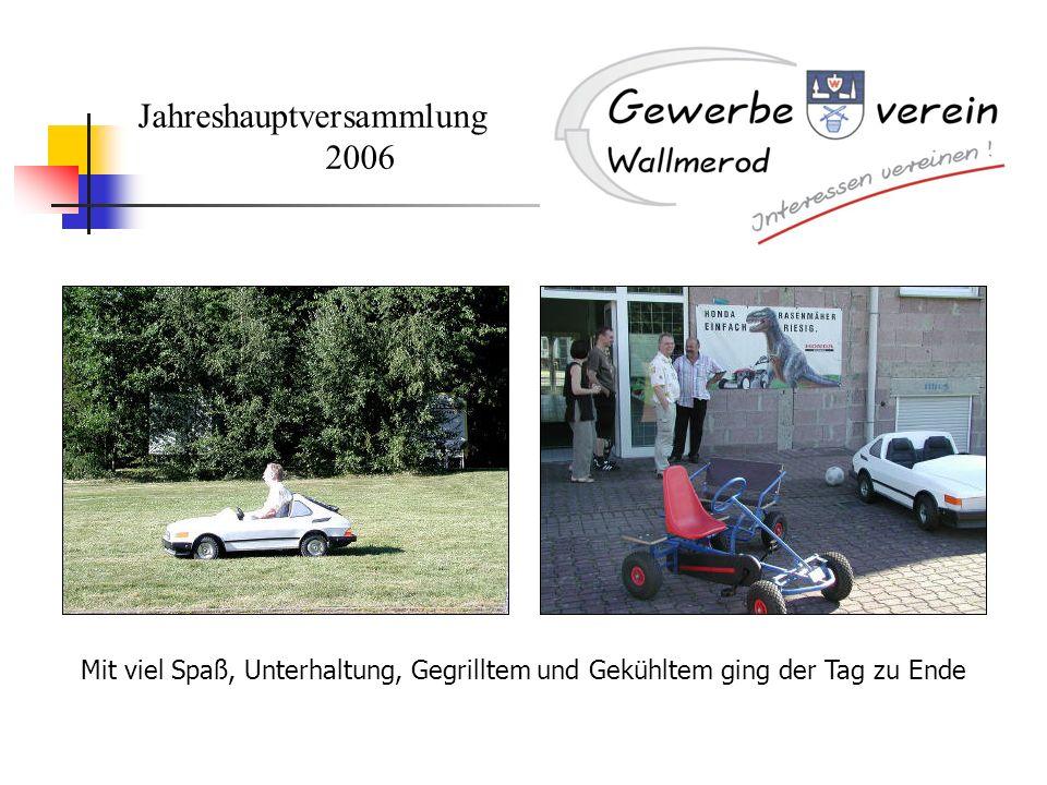Jahreshauptversammlung 2006 Mit viel Spaß, Unterhaltung, Gegrilltem und Gekühltem ging der Tag zu Ende